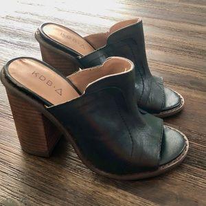 Anthro x KDB Bowery Peep toe Mule leather shoes